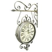 Relógio de estação Hotel Paris Prata 31 cm