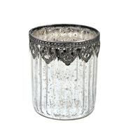 Castiçal de vidro e Zamac prata 11x9,5 cm