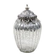 Potiche de vidro e Zamac com tampa prata 17x11 cm