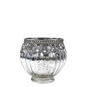 Castiçal de vidro e Zamac prata 8,5x9 cm