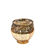 Castiçal de vidro e Zamac dourado 8,5x9 cm