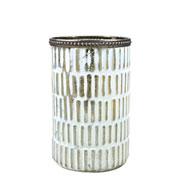 Castiçal de vidro branco e dourado 14x9 cm