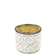 Castiçal de vidro branco e dourado 9,5x8 cm