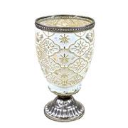 Castiçal de vidro branco e dourado 16x9 cm
