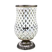 Castiçal de vidro branco e dourado 21x11 cm