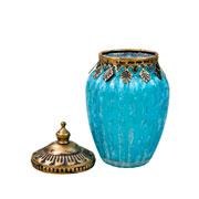 Potiche decorativo de vidro azul 14x8 cm