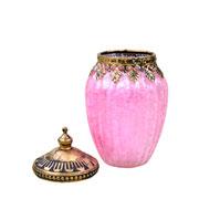 Potiche decorativo de vidro rosa 14x8 cm