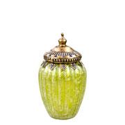 Potiche decorativo de vidro verde 14x8 cm