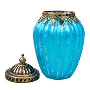 Potiche decorativo de vidro azul 17x11 cm