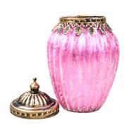Potiche decorativo de vidro rosa 17x11 cm