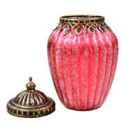 Potiche decorativo de vidro vermelho 17x11 cm