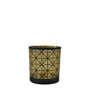 Castiçal em vidro preto e dourado 7,5x7 cm