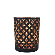 Castiçal em vidro preto e cobre 12x9 cm