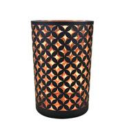 Castiçal em vidro preto e cobre 17,5x12 cm