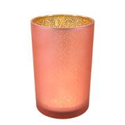 Castiçal em vidro dourado e rose 17,5x12 cm