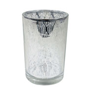 Castiçal em vidro prata 17,5x12 cm
