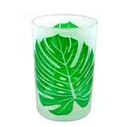 Castiçal em vidro folha 17,5x12 cm