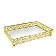 Bandeja metal dourado Flower espelhada 27x19X5 cm
