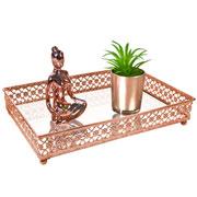 Bandeja metal cobre Flower espelhada 27x19X5 cm