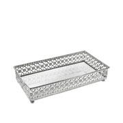 Bandeja metal prata Flower espelhada 24x12,5x5 cm