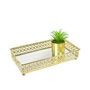 Bandeja metal dourado Flower espelhada 24x12,5x5 cm