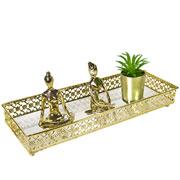 Bandeja metal dourada Flower espelhada 34x12,5X5 cm