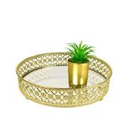 Bandeja metal dourada Flower espelhada 20x5 cm