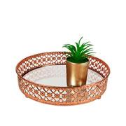 Bandeja metal cobre Flower espelhada 20x5 cm