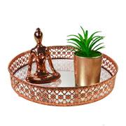 Bandeja metal cobre Flower espelhada 24x5 cm