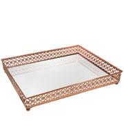 Bandeja metal cobre Flower espelhada 31x24,5x5 cm
