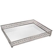 Bandeja metal prata Flower espelhada 31x24,5x5 cm