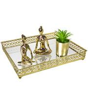 Bandeja metal dourado Flower espelhada 31x24,5x5 cm