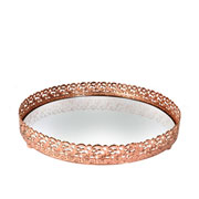 Bandeja metal cobre Arabesco espelhada 20x3,5 cm