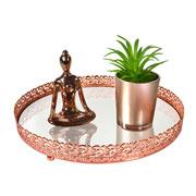 Bandeja metal cobre Arabesco espelhada 24x4 cm