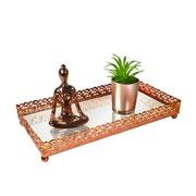 Bandeja metal cobre Arabesco espelhada 23x12x3,5 cm