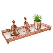 Bandeja metal cobre Arabesco espelhada 34x12,5x3,5 cm