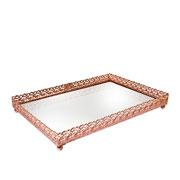 Bandeja metal cobre Arabesco espelhada 27x18,5x3,5 cm