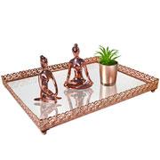 Bandeja metal cobre Arabesco espelhada 30x24x3,5 cm