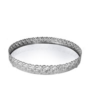 Bandeja metal prata Arabesco espelhada 20x3,5 cm