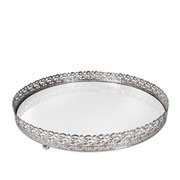 Bandeja metal prata Arabesco espelhada 24x4 cm