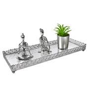Bandeja metal prata Arabesco espelhada 34x12,5x3,5 cm