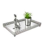 Bandeja metal prata Arabesco espelhada 27x18,5x3,5 cm