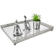 Bandeja metal prata Arabesco espelhada 30x24x3,5 cm