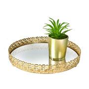Bandeja metal dourada Arabesco espelhada 20x3,5 cm
