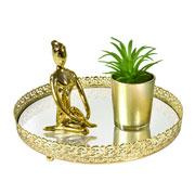 Bandeja metal dourado Arabesco espelhada 24x4 cm