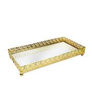Bandeja metal dourada Arabesco espelhada 23x12x3,5 cm