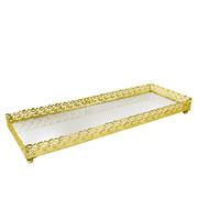 Bandeja metal dourado Arabesco espelhada 34x12,5x3,5 cm
