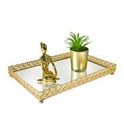 Bandeja metal dourado Arabesco espelhada 27x18,5x3,5 cm