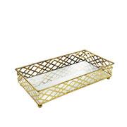 Bandeja metal dourado squares espelhada 24x13x05 cm