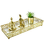 Bandeja metal dourada squares espelhada 35x13x05 cm